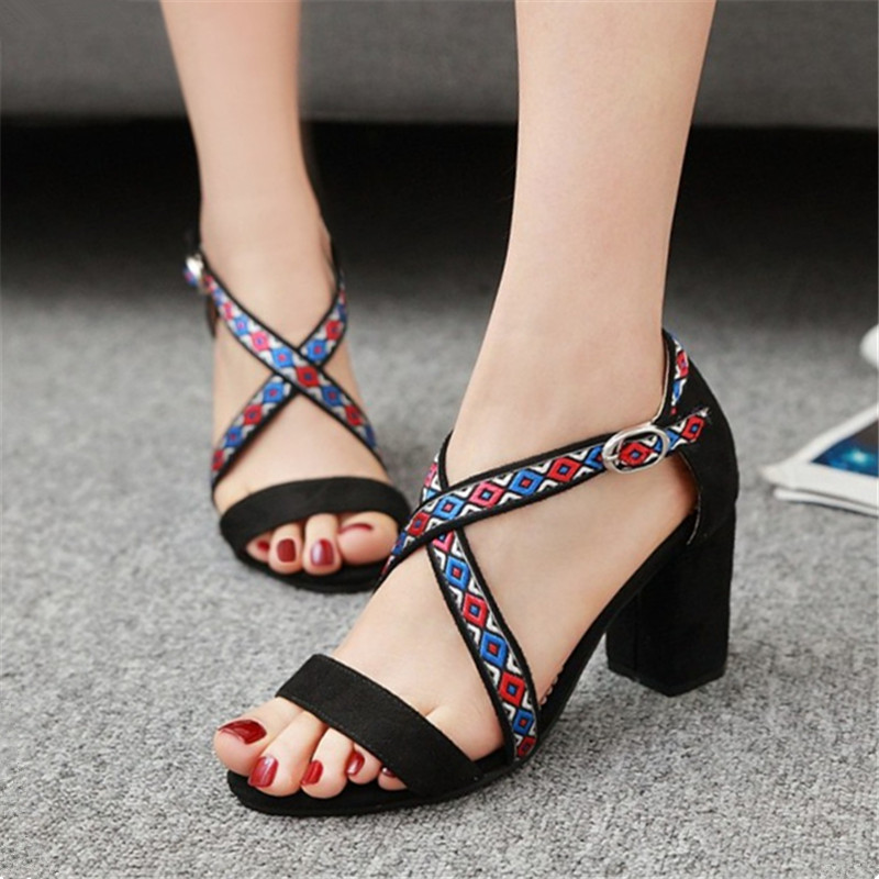 Plus Size 34-43 New women sandals Summer Gladiator peep toe embroidery Square High heeled sandalias ladies Dress Pumps Shoes summer high quality women flats sandals plus size 34 43 new fashion casual ladies sandalias comfort mujer gladiator woman shoes