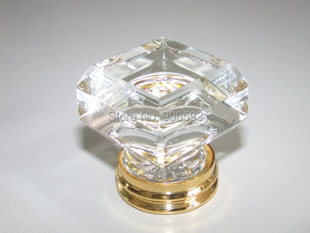 10PCS/LOT FREE SHIPPING 33MM CLEAR SQUARE CRYSTAL KNOBS ON GOLD BRASS BASE