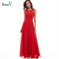 Dressv Red Long Evening Dress Cheap Scoop Neck Sleeveless A Line Zipper Up Wedding Party Formal
