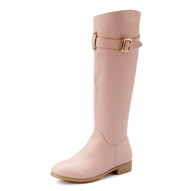 ФОТО 2016 hot sale plus size 34-43 soft leather knee high boots buckle round toe Square heel women fashion boots shoes women