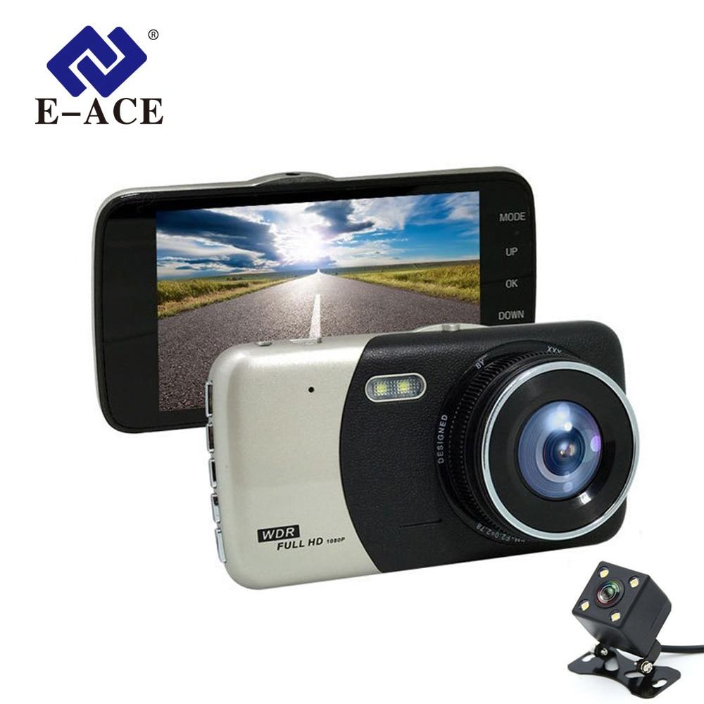 E-ACE Car DVR 4.0 Inch IPS Camera Dual Lens Full HD 1080P Video Recorder Registrator Night Vision Car Camcorder DVRs Dash Cam e ace car camera 5 inch dvrs with dual camera lens full hd 1080p 30fps video registratory rearview mirror dashcam night vision