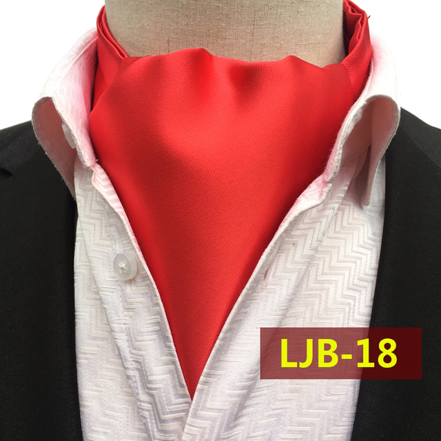 2017 Fashion Men Solid Color Handkerchief High Quality Red Woven Ascots for Banquet Wedding