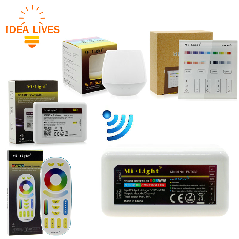Mi Light Full Color LED Controller RF 2.4G / Wifi Remote Control DC12-24V for RGB+CW+WW LED Strip. wf100 led wifi controller dimmer for color temperature rgb strip rf remote control ios android system used dc 5 24v 3 channel