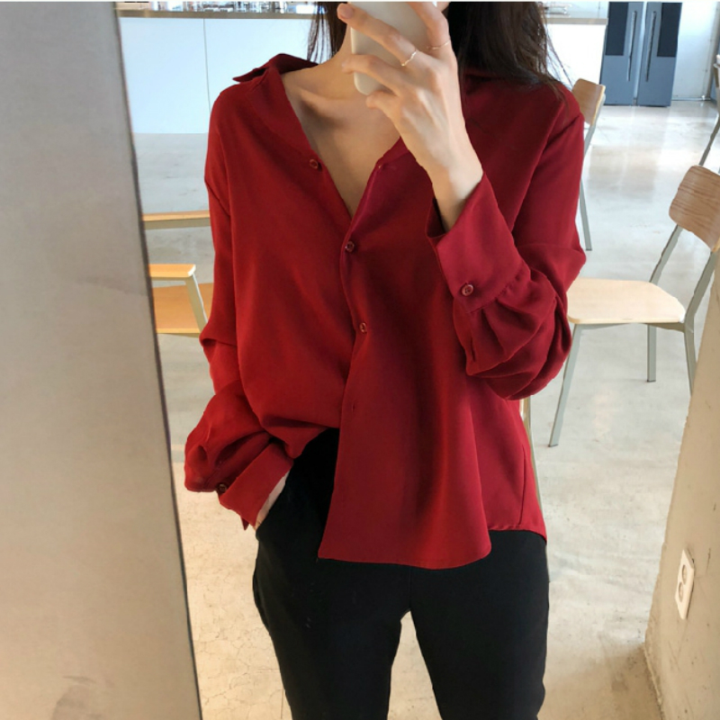 womens tops and blouses solid white chiffon blouse office shirt blusas mujer de moda 2019 long