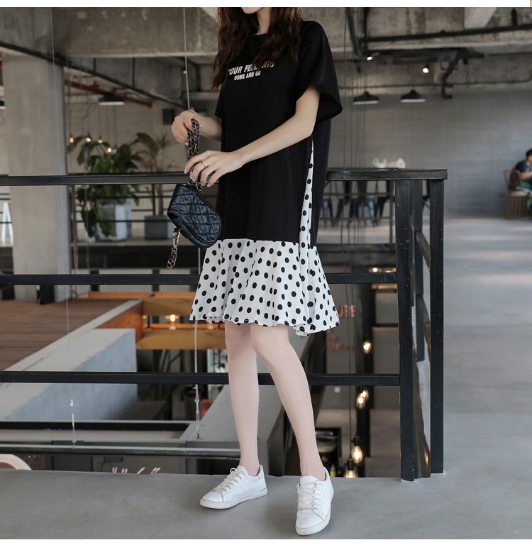 XL-5XL Plus Size Women Casual Dress Summer 2019 Short Sleeve Cotton Patchwork Chiffon Loose Casual Polka Dot Dresses 4