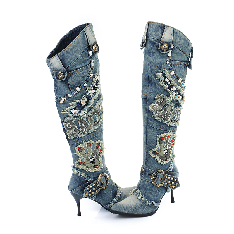 Hot Denim Female Boots Patchwork Leather Boots  Square Heels  Round Toe Fashion Women Knee-High Boots Zapatillas Mujer