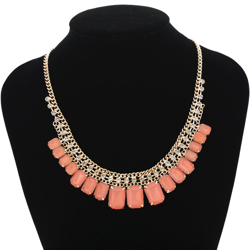 YFJEWE Summer 5colors Grils Necklaces Jewelry big crystal rhinestone necklace fashion jewelry for women party Porm Gifts #N070