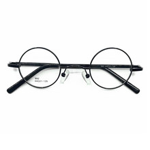 6fa4bdf45bfd6 Vintage 44mm Round Eyeglass Frames Spring Hinges Metal Black Full Rim Adult  Glasses(China)