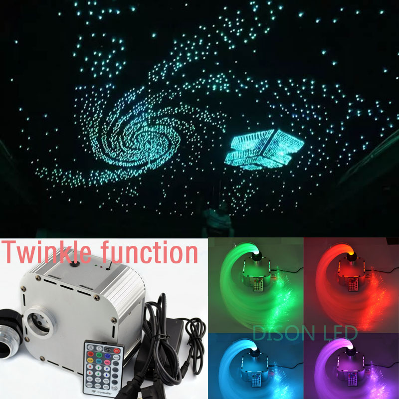 Optic Fiber Lights RGB Twinkle LED Fiber Optic Star Ceiling Light Kit 200pcs*3m+500pcs*2m Optical Fiber 28key RF Remote Control  10w rgb light with remote control special wholesale 10w infrared remote fiber optic lights