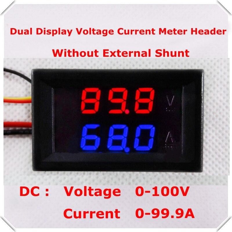DC100V/100A Dual Digital Blue Red LED Display Current Voltmeter Ammeter Multimeter Panel Tester Volt Amp Meter Gauge 100A Shunt