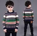 Meninos grandes Blusas Estilo Preppy Engrossar Blusas De Tricô Para Meninos Crianças Roupas de Inverno Roupas De Presente de Natal 4-16 Anos