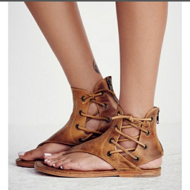 Women Sandals Vintage Summer Women Shoes Gladiator Sandals Flip-Flops For Women Beach Shoes Leather Flat Sandalias Mujer espadrilles retro gladiator sandals women genuine cow leather flip flops sandals lace up shoes black brown zapatos mujer