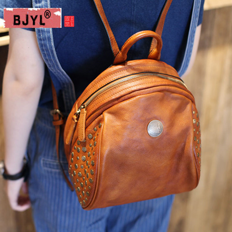 BJYL new College Wind genuine Leather women Shoulder Bag Tide Hundred Retro female Rivet Handmade First Layer Leather Backpack new tide package suede women bohemian wind retro backpack pu chain men and women lovers tassel bag