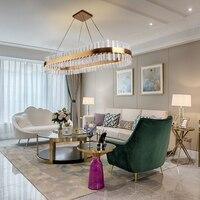 Роскошная Современная прямоугольная хрустальная люстра для столовой Овальный дизайн золотой подвесной светильник