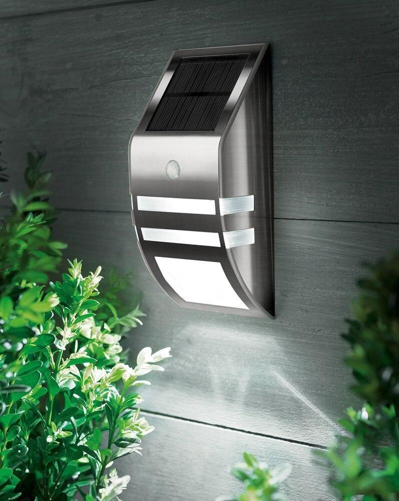 Motion Sensor Silver Stainless Steel Wall Warm LED Light ...
