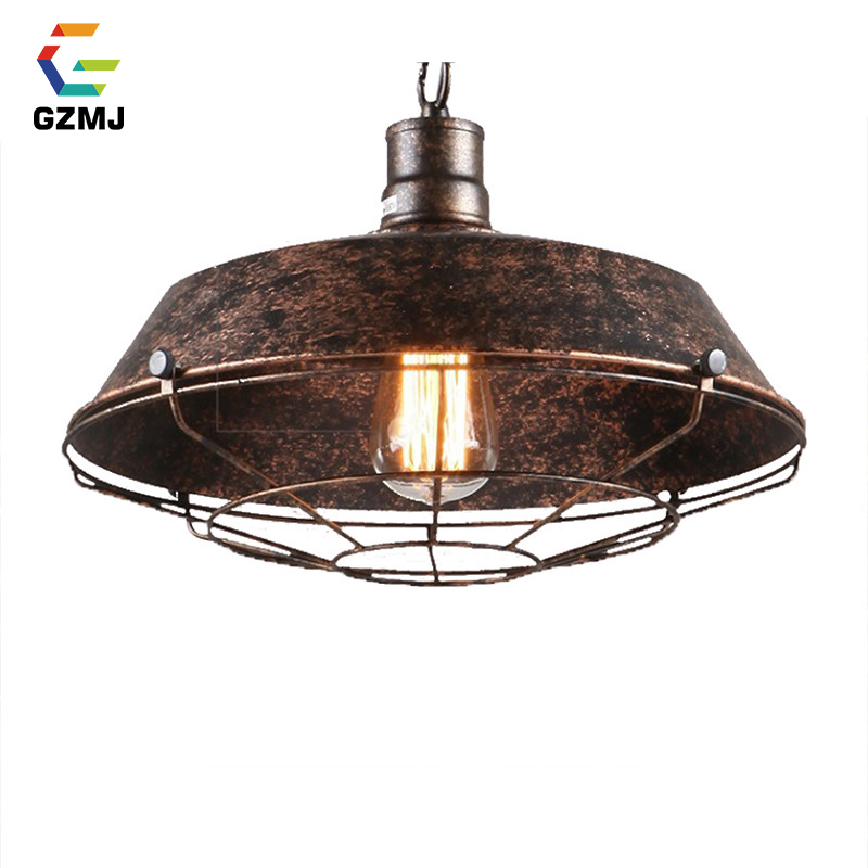 GZMJ Vintage Metal Pendant Lights E27 Rust Dining Room Hanging Lamp 90-260V Industrial Decor Bedroom/Study Iron HanglampGZMJ Vintage Metal Pendant Lights E27 Rust Dining Room Hanging Lamp 90-260V Industrial Decor Bedroom/Study Iron Hanglamp