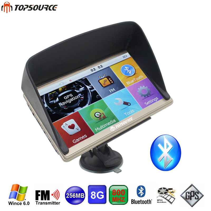TOPSOURCE 7'' Car GPS Navigation Bluetooth FM AVIN 8GB/256MB Resistive screen Vehicle Truck GPS Free Map Update +GPS Sunshade aw715 7 0 inch resistive screen mt3351 128mb 4gb car gps navigation fm ebook multimedia bluetooth av europe map
