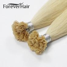 FOREVER HAIR 0,8 г/локон 14 дюймов Remy Huma предварительно скрепленные волосы с плоским кончиком для наращивания кутикулы прямые капсулы кератиновые волосы 40 г/ПАК