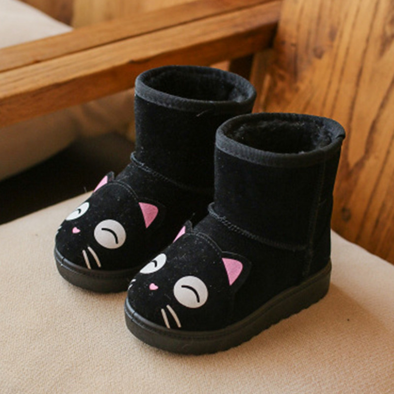 Winter Children Girls Snow Boots Shoes Kids Baby Boys Thickening Plush Cashmere Shoes Cute Boys Soft Bottom Warm Cotton Boots