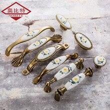 European Green Flower Ceramic Handle Modern Simple Cabinet Wardrobe Door Classical GardenEuropean Golden