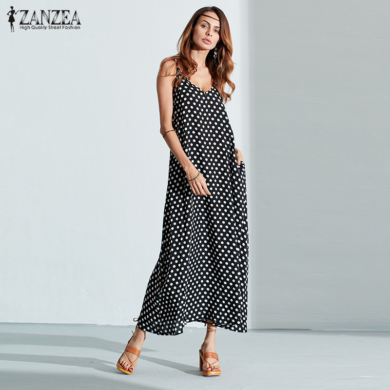 6 Warna Sexy 2018 ZANZEA Wanita Tidak Bertali Polka Dot Kasual Loose Long Maxi Summer Dress Cotton Beach de verano Vestidos Plus Size
