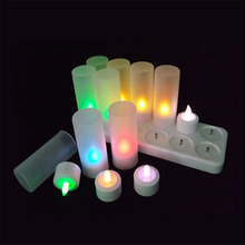 Rechargeable RGB LED Candle Colorful Flameless Tealight Candle Lamp with Remote Controller Home Decoration Party 12PCS/SET
