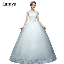 Sexy Wedding Dress Lace Up Back Bridal Ball Gown Flower Short Sleeves In Stock Floor Length Bottom Summer
