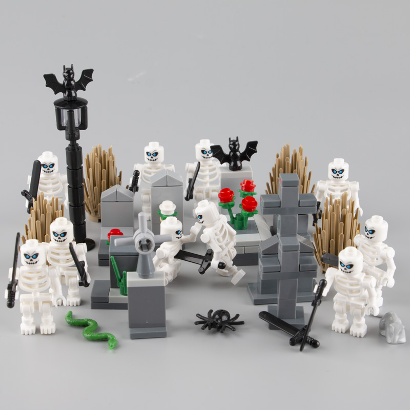 MOC Building Blocks Sets Skeleton Knight Figure Skull Soldiers Weapon Sword Graveyard Model Kit Bricks Toys For Children D084
