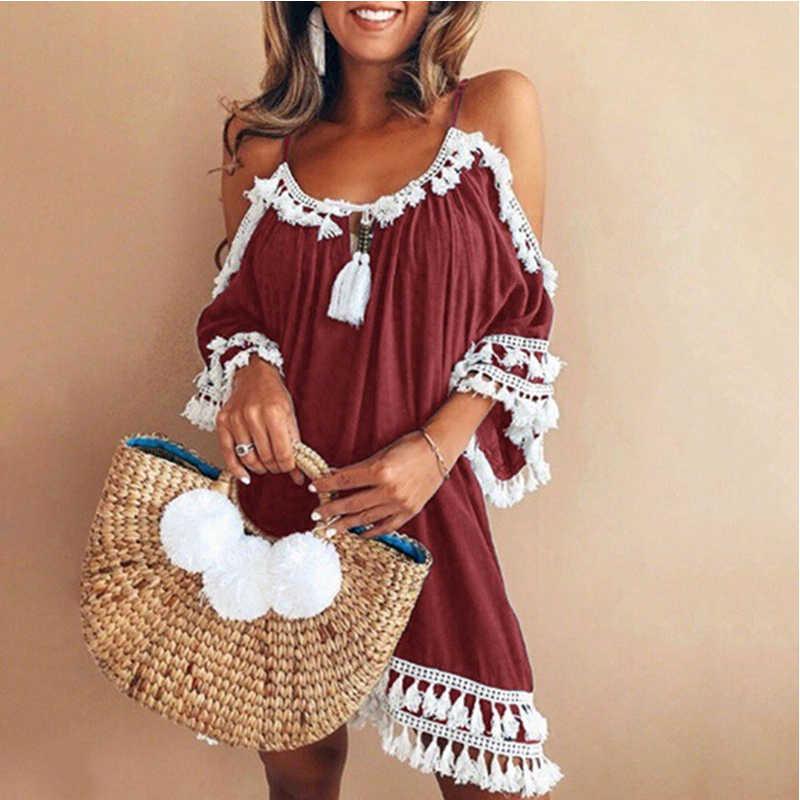 ... Sexy Cold Shoulder Tassel Dress Women Plus Size XXL Cotton A-Line Mini  Dress Bohemia ... eb86ad1fe3e8