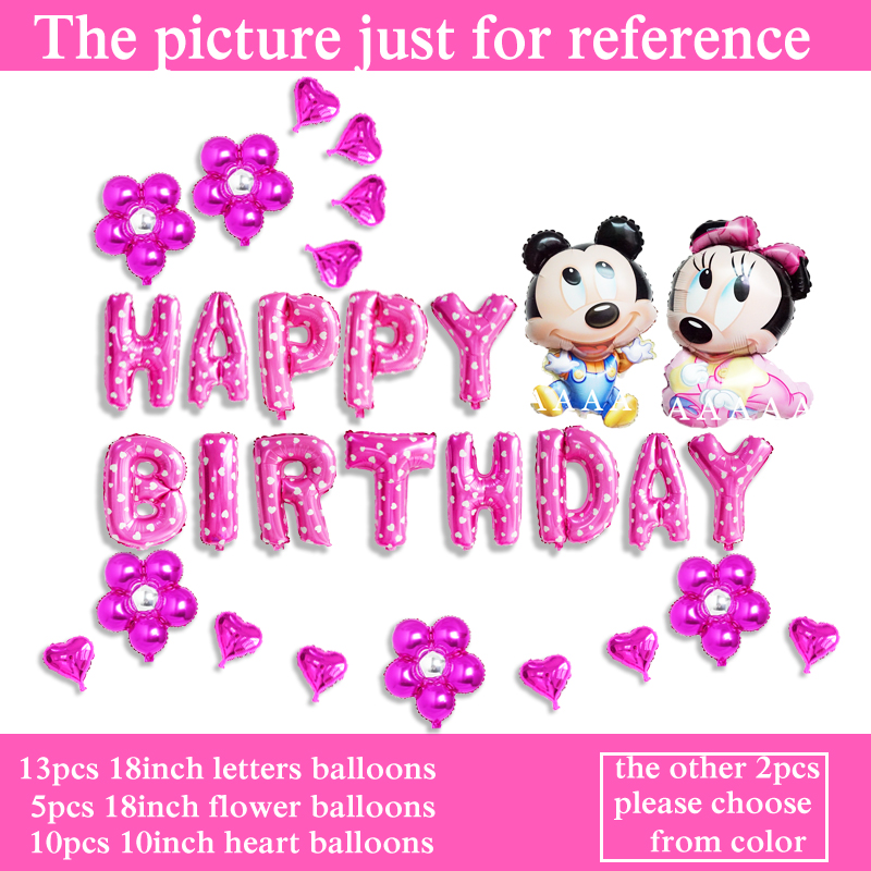 birthday balloons mickey air balloons happy birthday letter helium balloons minnie mouse balloons party decoration 30pcs/lot