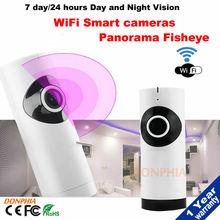 NEW WIFI 180 degree fisheye camera wireless mini ip camera twoway audio motion detection P2P TF Card Vision angle Free shipping