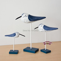 Free Shipping Mediterranean Style Wooden Seagulls Crafts Home Decor Good Wood Carving Wood Craft 3pcs Lot