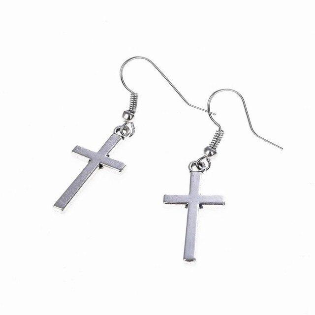 Европа Модные Простые Мода Серебро/Позолоченные Кисти Длинные Крест Болтаются Серьги для женщин FE693