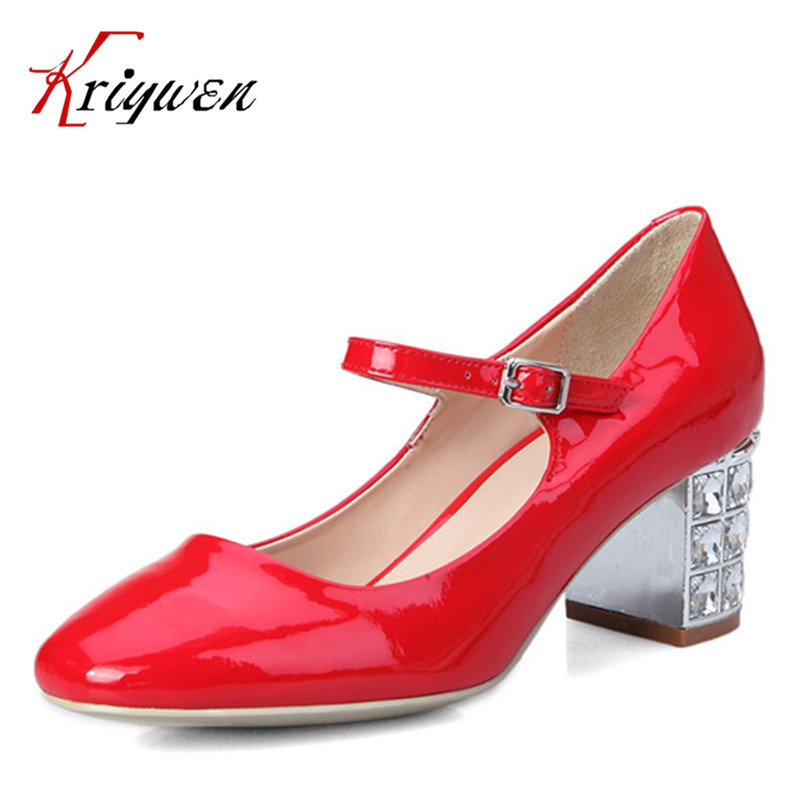 ФОТО Brand New 2016 Spring autumn mary janes round toe Shoes For Women natural leather rhinestone Dress Fashion Party  ladies pumps