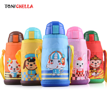 Baby Stainless Steel Thermos Feeding Cup With Thermal Cup Set Cute Cartoon Stainless Steel Infant Children Training Cups CL5378