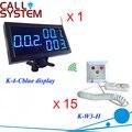 Electrónica paciente sistema de llamada 1 receptor de la exhibición 15 timbre servicio usado en el hospital / clínica / enfermería casa