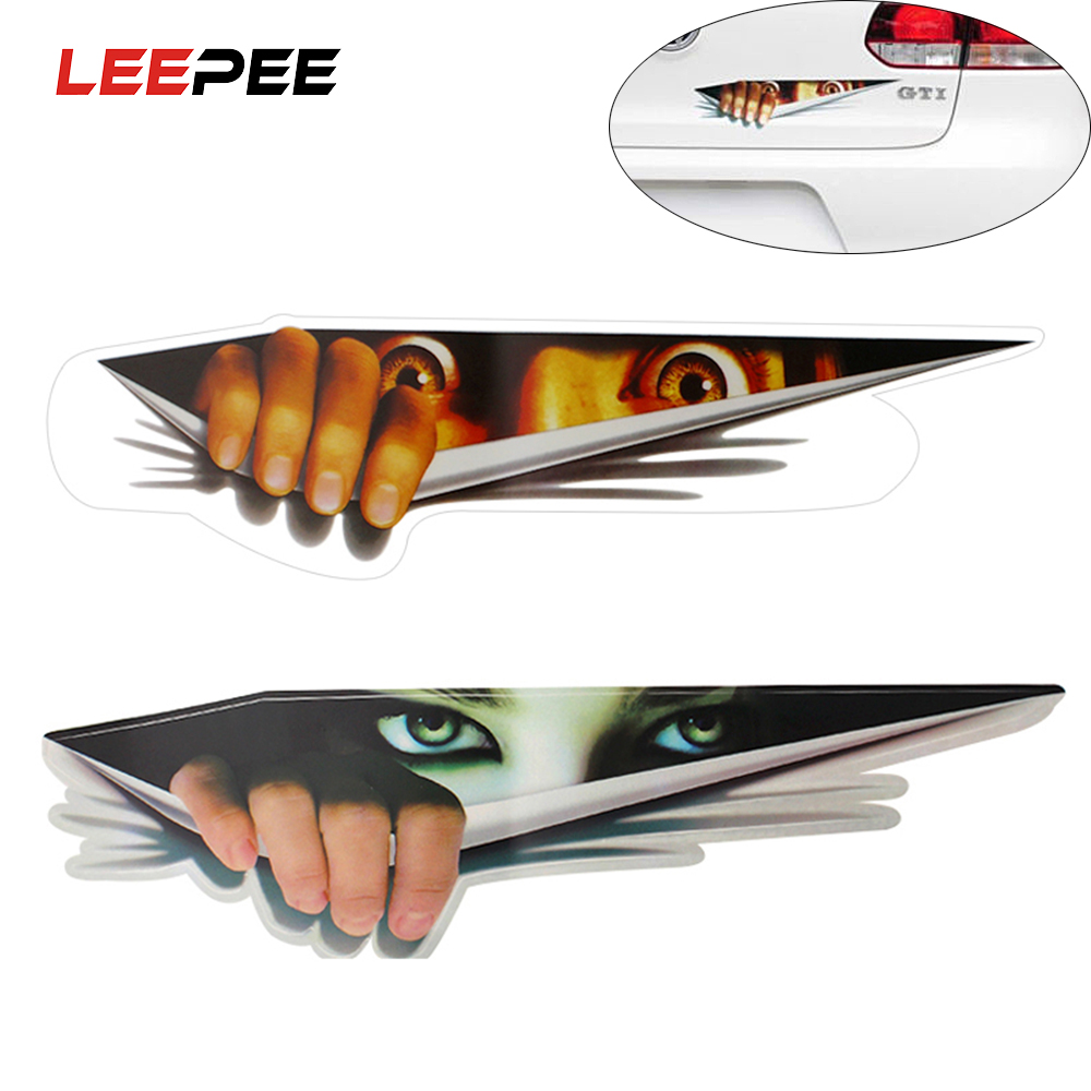 LEEPEE Funny Car Sticker 3D Eyes Peeking Monster Sticker Voyeur Car Hoods Trunk Thriller Rear Window Decal