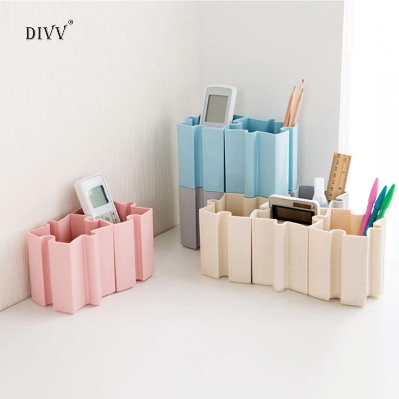 Happy DIY Stitching Cosmetic Pen Storage Box Makeup brush holder Desk Desktop Offices Storage Box Case 1pc
