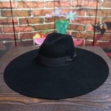 Feminino 16cm grande borda larga lã chapéu de feltro chique floppy quente inverno chapéu de trilby fita bowknot igreja vestido de casamento fedora jazz hat