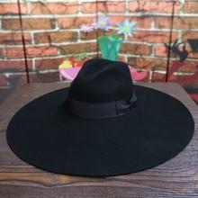 Kobiety 16cm duże szerokie rondo wełny czuł kapelusz Chic Floppy ciepłe zimowe Trilby kapelusz wstążka Bowknot kościół sukienka ślub Fedora Jazz kapelusz