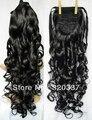 """Шиньоны 22 """" женщины в хвост синтетический волос вьющийся хвост # 2 черный"""