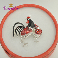 Canifu New arrival  Gold Color and  White  Lovely Cock Rooster and hen Brooches  Couple Chicken brooch pin  gift for gifts