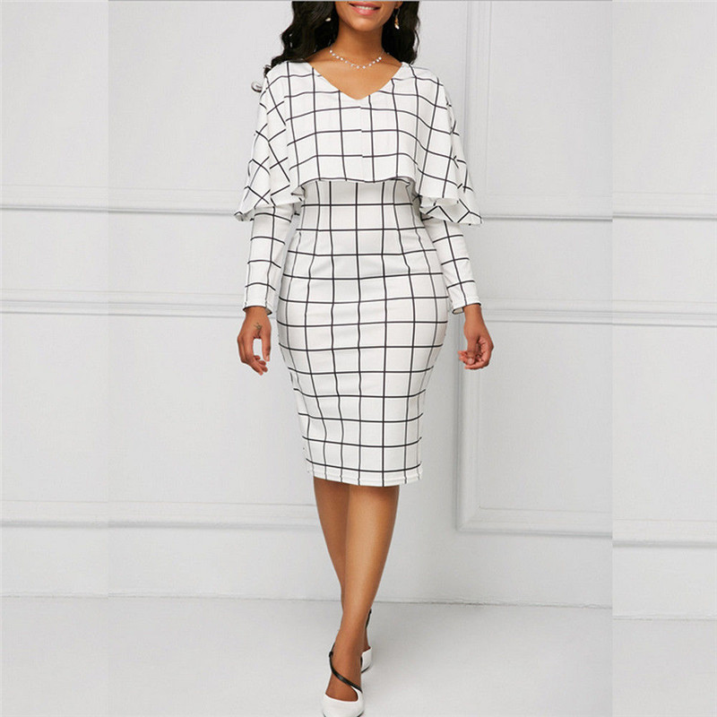 Fake Two Pieces Women Plaid Dress V Neck Long Sleeve Cloak Style Slim Knee Length Dresses Elegant Ladies Office Lady Sundress