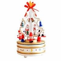 Projeto romântico Árvores de Natal Caixa de Música de Decoração Para Casa De Madeira Rotativa Caixa De Música para Brinquedos Das Crianças Das Crianças Meninas Melhor Presente