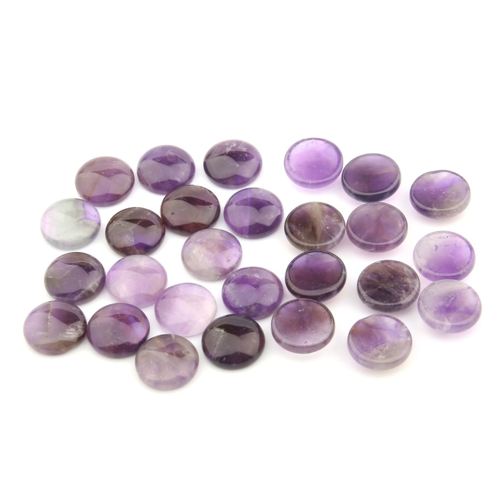 2018Amethyst Natural Stones Cabochon 8 10 12 14 16 18 20 Mm Round No Hole For Making Jewelry