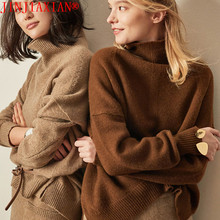 JINJIAXIAN, otoño e invierno, nuevo suéter de Cachemira, suéter grueso de cuello alto para mujer, suéter de punto corto, moda suelta