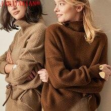 Jinjiaxian outono e inverno nova camisola de caxemira feminina gola alta senhoras grosso camisola de malha curta camisola solta moda