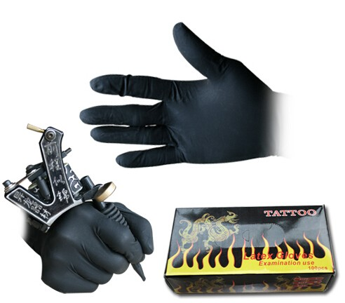 100 Pcs High Quality Tattoo & Body Art Black Disposable Tattoo Latex Gloves Available Size Accessories Free Shipping Tattoo