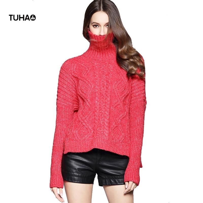 2017 hiver Twist motif chandail femmes neige cachemire mélange asymétrie col roulé crochet chandails et pulls pull TGS179