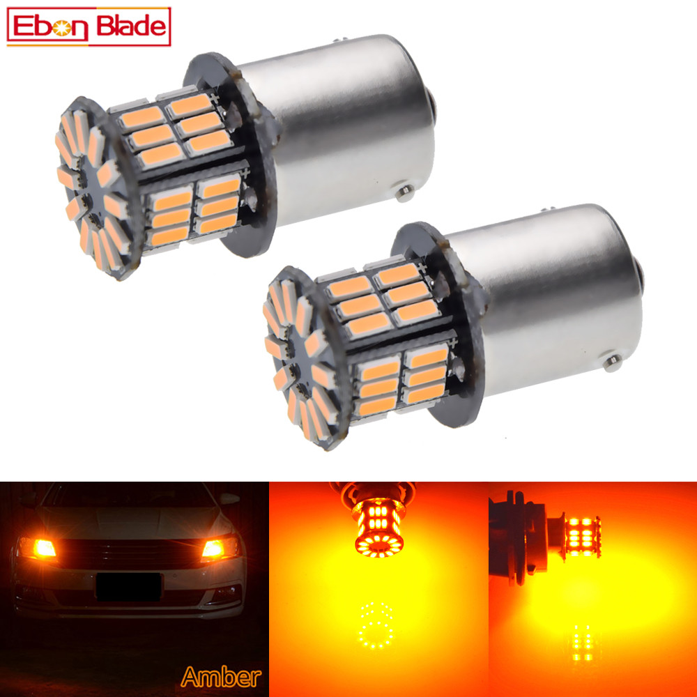 2Pcs Daytime Running Light S25 1156 BA15S P21W 3014 36 SMD Auto LED Amber Orange Yellow Turn Signal Bulb Lamp Car Styling 12V DC-in Signal Lamp from Automobiles & Motorcycles
